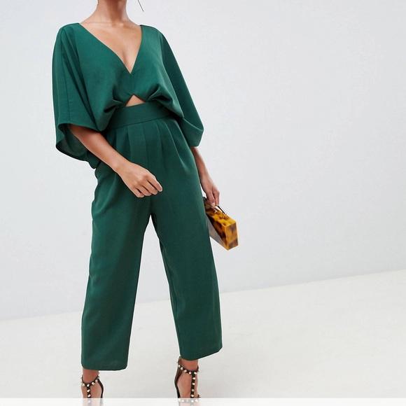 c7559150bb6c ASOS Petite Pants - ASOS forest green jumpsuit kimono sleeve   peg leg